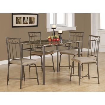 Contemporary 5 Piece Dining Set with Table and 4 Side Chairs, Brown
