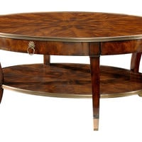 "Circles 52"" Oval Cocktail Table, Tawny,"