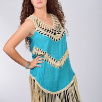 Umgee Teal Sleeveless Fringe and Crochet Tunic