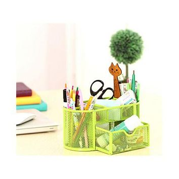 9 Slots Compartments Desk Organizer Pen Holder Rack Office Stationary  Green