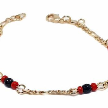 1-0810-f9 18kt Brazilian Gold Layered Kid's Azabache Bracelet with Red Beads. 3mm beads, 6 inches length,