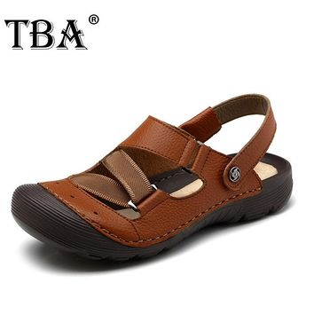 Summer New Arrival Breathable Retro Elastic Brand Mens Casual Beach Shoes Man Sandals Zapatos Hombre Platform Brown Slippers 44