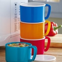 Amazon.com: 4 Microwave-Safe Soup Bowls With Lids By Collections Etc: Kitchen & Dining