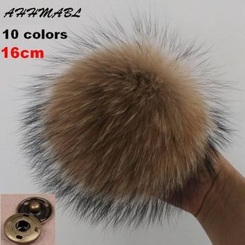 16cm DIY Genuine Real Raccoon Fur Pompom Fur Pom Poms for Women Kids Beanie Hats Caps Big Size Natural Ball For Shoes Caps Bags