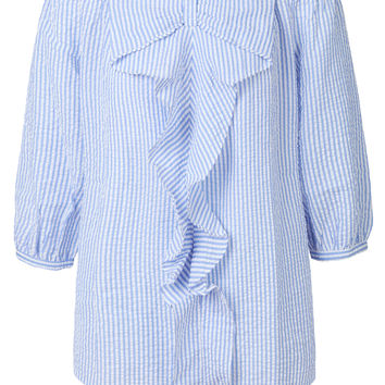 LE3NO Womens Lightweight Striped Tie Bow Ruffle Off Shoulder 3/4 Sleeve Blouse Top