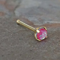 Pink Opal Gold Nose Bone Gold Nose Stud Nose Ring Prong Set
