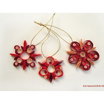 Quilling Christmas Decoration Set of 3 Red Nuanced Quilled Snowflakes, Christmas Home Decoration in Red