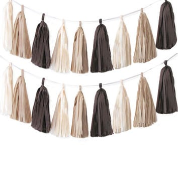 Tissue tassel garland chocolate brown, antique white and khaki tissue paper tassel // birthday // wedding // baby shower