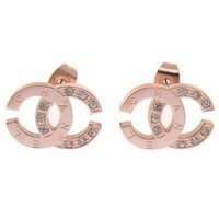 Chanel Woman Fashion Logo Diamonds Stud Earrings