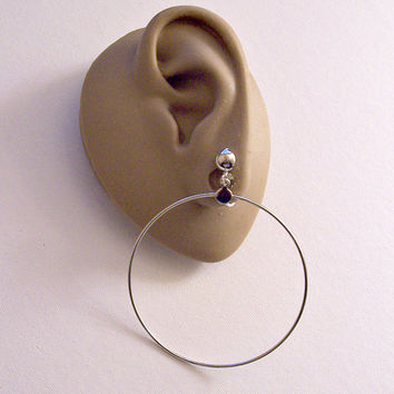 """Thin Ring 2 3/4"""" Long Hoops Clip On Earrings Silver Tone Vintage Extra Large Wide Wire Dangles Round Domed Top Beads"""