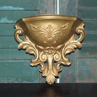 Ornate gold Homco wall pocket sconce - Wall decor, gold decor, gold sconces, Hollywood Regency, planter vase