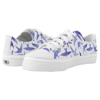 Whimsical Lavender Watercolor Birds Pattern Printed Shoes