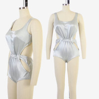 Vintage 60s Silver SWIMSUIT / 1960s Space Age Cut-Out Metallic Bathing Suit S - M