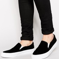 ASOS Slip On Plimsolls in Faux Suede