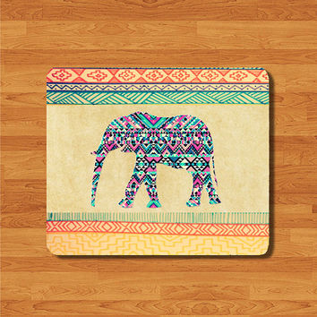 Elephant Vintage Aztec Pattern Geometric Mouse Pad Fabric Rubber Backing MousePad Tribal Animal Old Paper Painting Personalized Gift Minimal