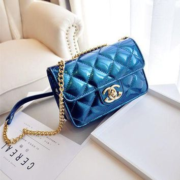 DCCK6HW Women Simple Fashion Glossy Lacquer Leather Rhombic Line Jelly Mini Metal Chain Single Shoulder Messenger Bag