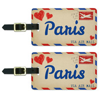 Air Mail Postcard Love for Paris Luggage Tag Set