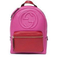 DCCKUG3 Gucci Soho Backpack Bag Leather Pink Rosette Hibiscus Red Shoulder Italy New