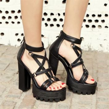 Gladiator Women Open Toe Punk Rock Gothic Thick Platform Chunky Block High Heels Sandals
