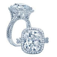 6.28ct Cushion Moissanite & Diamond Engagement Ring 18kt JEWELFORME BLUE