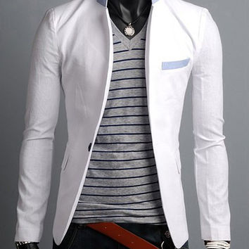 Color Block Stand Collar Purfled Design Long Sleeves Blazer
