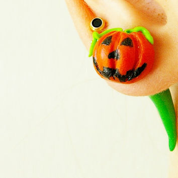 Pair of Real Custom Gauges Plugs 8g, 6g, 5g, 4g, 2g, 0g, 00g, 7/16, 1/2, 9/16, 5/8, 3/4, 7/8, 1 inch earrings Halloween pumpkin polymer clay