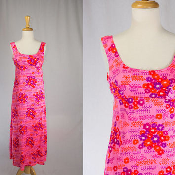 Vintage 1970's Hawaiian Maxi Dress HoT PiNk! XXS SPRING SALE!