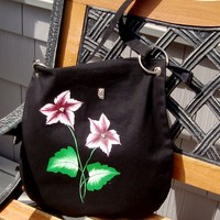 Messenger Bag with Red Flowers and Butterfly Charm by It's In The Bag