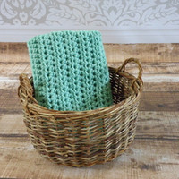 Ready To Ship Ocean Sea Green Mint Unisex Baby Toddler Afghan Crib Blanket Baby Shower Gift