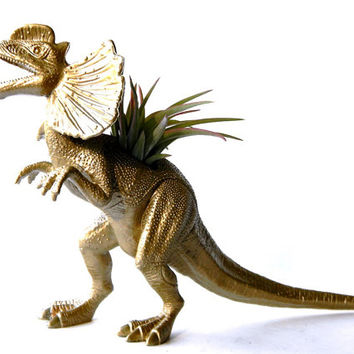 Gold Dinosaur Planter - Up-cycled Gold Dilophosaurus Planter - Animal Planter - Pop Art Room Decor - Geekery Decor