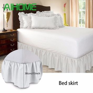 Free Shipping Hotel Elastic Bed Skirt 6 Colors Suede Fabric for King/Queen Size Dust Ruffle pastoral Style Fit bedspread