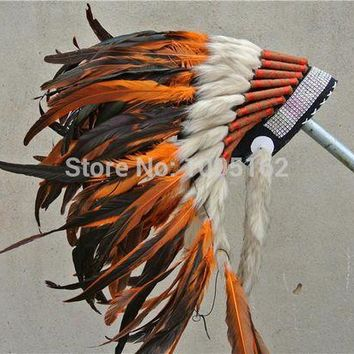 ONETOW 21 inch high orange Indian feather Headdress native american costume war bonnet feather hat  cosplay costumes supplies