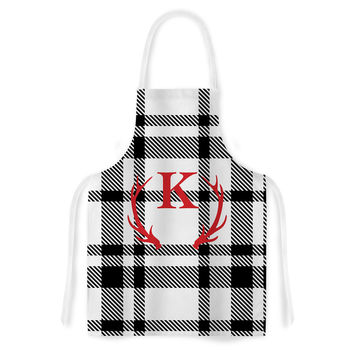 "KESS Original ""White Plaid Monogram"" Artistic Apron"