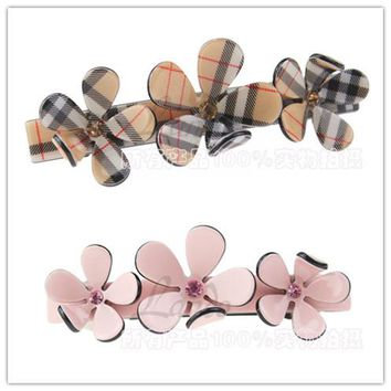 French Elegance Follwer  Austrian Crystal Hair Accessories Hair Clips For Women Flower Hairpins Rim Handmade Hair Bows