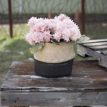 Woven Cement Planter ~ Natural and Black