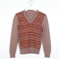 Vintage 70s Sweater Brown Beige Space Dye Abstract Striped Knit V Neck Preppy Pullover Jumper Hippie 1970s Sweater Faux Vest Nerd XS S Small