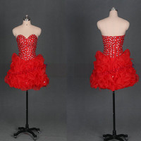Short red organza homecoming dress with rhinestone,2014 latest women dresses for party,chic prom dress with bows,sweetheart cocktail gowns.