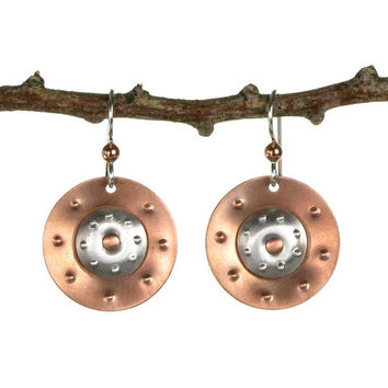 Copper and Aluminum Dangle Earrings - Mixed Metal Jewelry - Drop Earrings - Metal Earrings - Art Jewelry - Copper Earrings