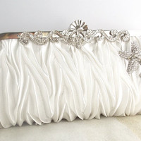 Crystal Starfish Clutch in White and Silver. Wedding, Bridal, Beach Wedding