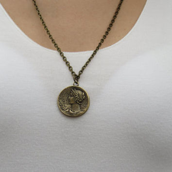 Long necklace, Coin necklace, Antique bronze, Coin jewelry, Disc necklace, Round necklace, Mothers necklace, Modern necklace, Jewelry gift