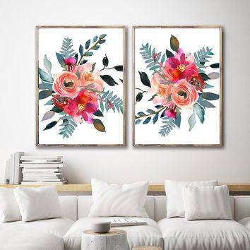 WATERCOLOR FLOWER Wall Art, Colorful Watercolor Floral Bedroom Wall Decor, Floral Minimalist Artwork Set of 2 Canvas or Prints Pictures