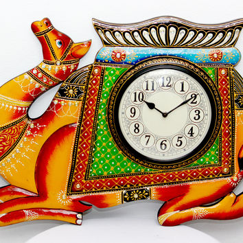 Aakashi Carved Camel Wall Clock