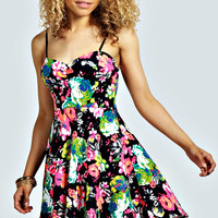 Layla Floral Strappy Skater Dress