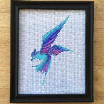 Art Cross Stitch Pattern, Blue Bird Cross Stitch