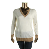 MICHAEL Michael Kors Womens Metallic Cashmere Blend V-Neck Sweater