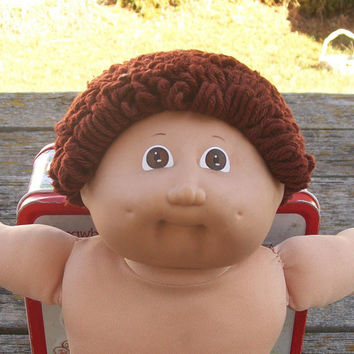 Vintage Cabbage Patch Doll Boy Dark Brown Curly Hair Brown Eyes 1985