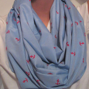 Blue Checked with Red Ancors, Handmade, Infinity Scarf