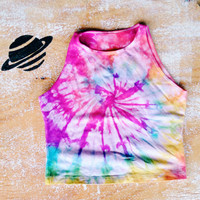 Tie Dye Crop Top Cotton Spandex Sleeveless Crop Top