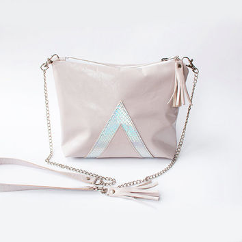 Pastel Pink leather crossbody bag, Holographic Spring Clutch, Cute Hologram Purse, Leather makeup bag, Pastel wedding clutch, Wedding Clutch