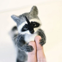 Made to order Cute raccoon Miniature raccoon Grey raccoon Little raccoon Beautiful raccoon Raccoon animal Toy raccoon Needle felting toy